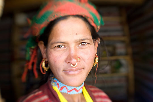 A trailside vendor paused for a portrait in the Karnali Valley a few hours from Simikot.