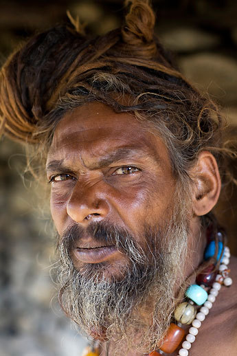 A sadhu, or religious pilgrim, paused for a portrait on the trail. He had trekked from India through Humla to get to Mount Kailas, a holy mountain in Tibet, but was turned away at the border by Chinese authorities because he lacked proper papers.