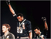 Gold medalist Tommie Smith and bronze medalist John Carlos
