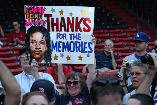 Rosemary Bawn, from Stow, arrived early to lend her to Manny on his return to Fenway Park. Mark her down for a 'yes,' on the boor or cheer question. 'He was very entertaining when he was here,' she said.