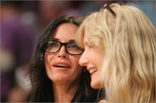 Actors Courteney Cox and Laura Dern watched Game 7 together.