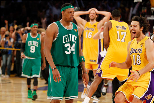 June 17, 2010: Celtics lose NBA title to Lakers in Game 7 The Celtics led the 2010 NBA Finals three games to two, but the Lakers blew Boston out in Game 6 to force a deciding Game 7 at the Staples center in Los Angeles. Things appeared to be going the Celtics' way early, as shots were falling and Boston took a 13-point lead in the third quarter. But Kobe Bryant led the Lakers back into it at the end of the third quarter, and Los Angeles tied the score 64-64 on Derek Fisher's 3-pointer in the fourth. Then the Lakers slowly edged ahead and stayed there, winning 83-79 and denying Paul Pierce (pictured) and the Celtics a second title in three years.