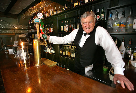Bartender Jim Conley at the White Horse Tavern, once a gathering place for members of the Colonial government.