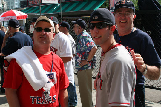 John Matthews, from Houston, Texas, Jared Carrabis, from Saugus, and Bobby Donlan, from Atlanta, Ga., were on hand for Manny's return. All three said they were 'Governors of Red Sox Nation,' from their respective states.