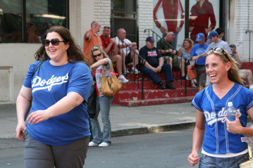 You didn't have look far to find Dodger blue shirts on Yawkey Way before the start of Friday's game. They were everywhere.