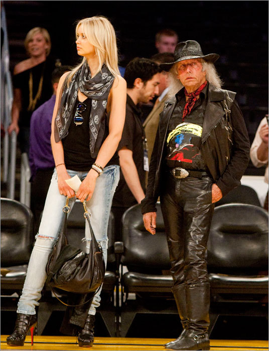 NBA super fan Jimmy Goldstein (right) brought Danish supermodel Amalie Wichmahn to Game 6.