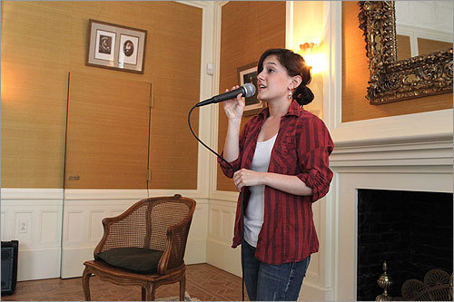 Sara Ontaneda, a Berklee College student who lives at the Ayer Mansion, praticed her singing in the main drawing room