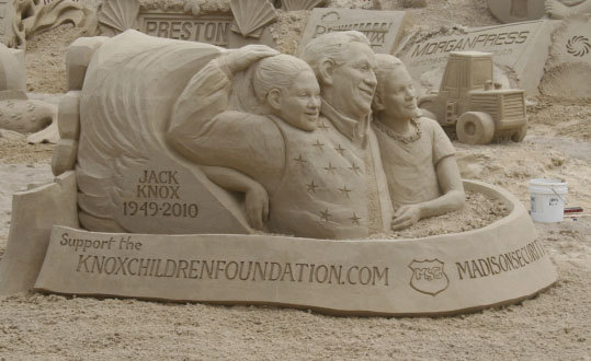 Stunning detail can be seen in the faces on this carving for the Knox Children Foundation.