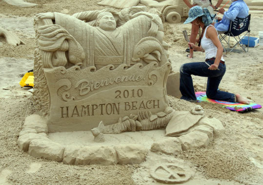 The 10th Annual Hampton Beach Master Sand Sculpting Competition is under way in Hampton Beach, N.H., with 10 competitors vying for $15,000 in purse and entry awards. The competition runs through Saturday afternoon, when judging - including the people's choice award - will take place.