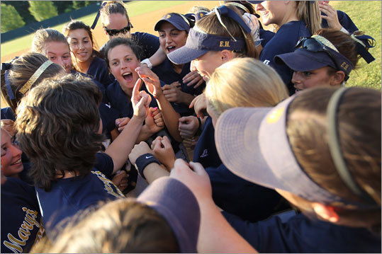 Let's see if we have this straight. St. Mary's plays a sport for a few months and the MIAA hands them a trophy. Then the Spartans go out the next season and do it again. Got it. The North Shore girls' powerhouse did it again this spring, making it back-to-back softball titles after beating Murdock, 11-1. This one came after the record-setting St. Mary's girls' hockey team won its third straight title this winter. The trophy case is getting full. ''This one feels just as good,'' said senior Erin Andrews, who graduates with five state titles. ''It was great to come out on top and prove that we were one of the best classes to ever come out of St. Mary's.''