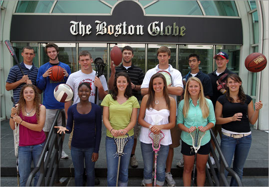 The Boston Globe 2009-2010 Scholar-Athlete award winners in front of the Globe on Monday May, 31 2010. (Matthew J. Lee / Globe Staff)