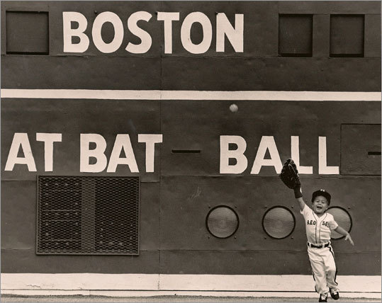 Bo Greenwell has already played left field at Fenway Park at least once. This shot was taken at a Family Day event in 1992.