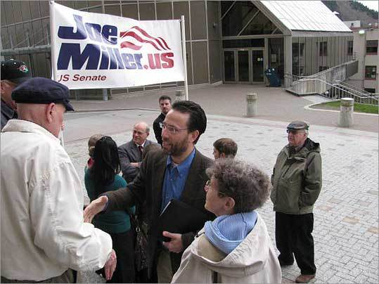 Senate candidate Joe Miller, shown in Juneau, Alaska, in April, fears that the nation is veering toward insolvency.