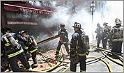 Fire strikes landmark
