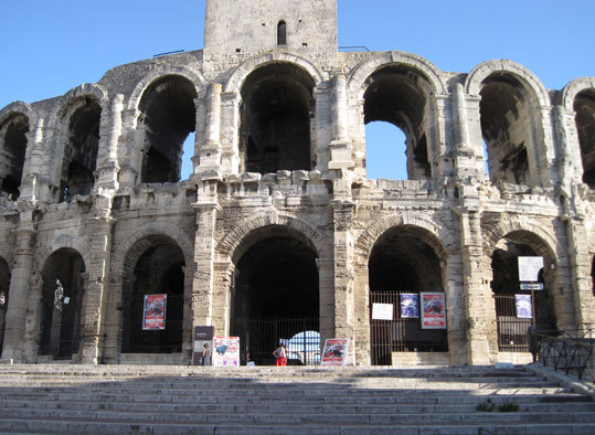 This Roman amphitheater in Arènes d'Arles dates to the first century B.C. and today is the leading attraction in Arles as well as a venue for bullfighting, plays, and concerts.