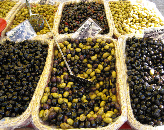 Olives at the local market in Gordes.
