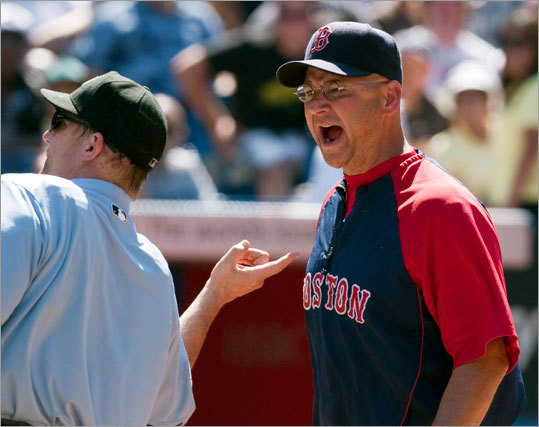 Red Sox manager Terry Francona, right, was ejected from the game by home plate umpire Jeff Kellogg in the seventh inning against the Toronto Blue Jays in Toronto on Saturday July 10. The Red Sox lost to the Bluejays 9-5.