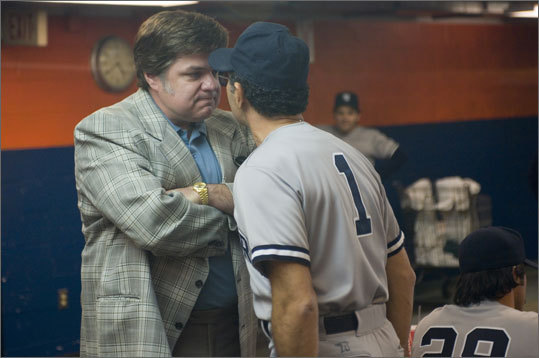 Steinbrenner was also a common pop-culture reference. He was famously voiced by Larry David in the sitcom 'Seinfeld' (with the back of his head played by Lee Bear) in various story lines involving Jason Alexander's character, George Constanza, who worked for the Yankees. Steinbrenner was played by Oliver Platt (pictured left) in an ESPN miniseries called 'The Bronx is Burning' based on the 1977 Yankee season. He also hosted Saturday Night Live in 1990. In the last decade, he made light of his criticisms of Derek Jeter's off-the-field partying by starring in a Visa commercial with Jeter.