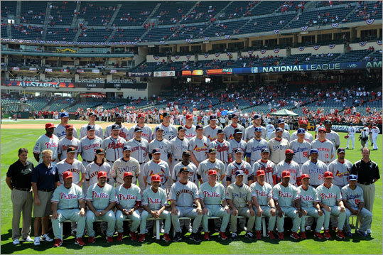 The National League All-Stars posed for a team photo before the game.