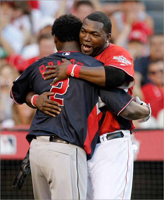 Although David Ortiz beat his former teammate, Hanley Ramirez, in the final round, they celebrated their performances together. The Red Sox traded Ramirez in 2005 when he was a top prospect and got Josh Beckett and Mike Lowell in return from the Marlins.