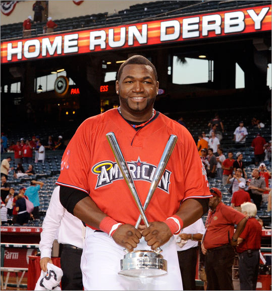 Red Sox slugger David Ortiz kicked off the All-Star festivities in Anaheim, Calif., on Monday by winning the home run derby. The other participants were Nick Swisher of the Yankees, Hanley Ramirez of the Marlins, Miguel Cabrera of the Tigers, the Brewers' Corey Hart, the Cardinals' Matt Holliday, Vernon Wells of the Blue Jays and the Diamondbacks' Chris Young.