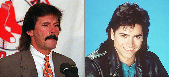 Former Red Sox pitcher Dennis Eckersley (left) and Full-House star John Stamos (right) were well known for their mullets.