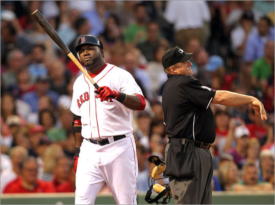 David Ortiz wasn't happy with umpire Bruce Dreckman's call after Ortiz struck out in the third inning. Ortiz went 0-for-4.