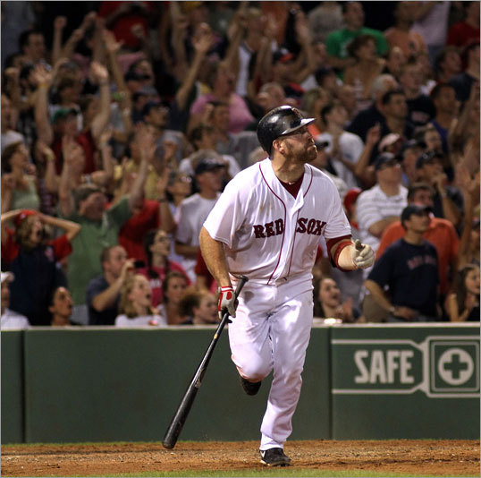 Youkilis won the game for the Red Sox with a sacrifice fly in the 11th inning.