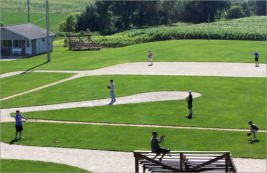 Tourists played baseball at the 'Field of Dreams' site in Dyersville, Iowa.