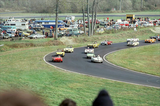 This photo from 1972 shows drivers turning around the bend in the midst of a tight race.
