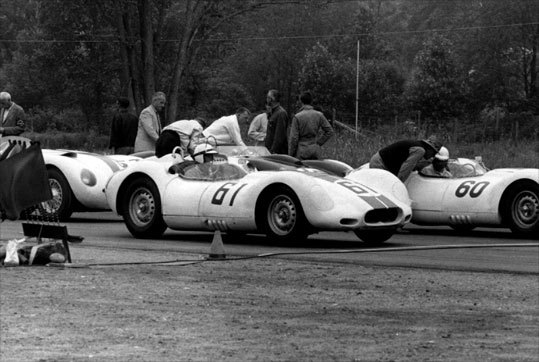This shot from 1958 shows anxious drivers getting some last minute advice before starting their engines.
