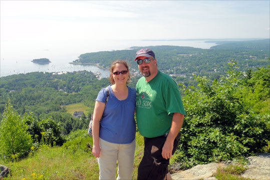 Bob and Doreen, of Wilmington, climbed Mt. Battie in Camden, Maine.