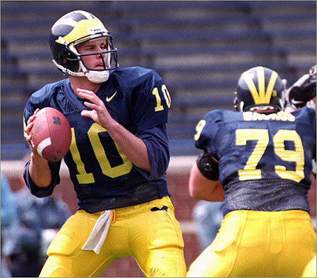 A hidden gem Brady provides eternal hope for rabbit-foot-rubbing NFL general managers everywhere. The Patriots drafted Brady with the 199th pick in the 2000 NFL Draft, a skinny kid out of Michigan who lasted to the sixth round because he just wasn't supposed to be this good. Brady played quarterback for the Wolverines and had a 20-5 record as a two-year starter. He ranks third in Michigan history with 710 attempts and 442 completions.