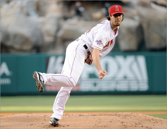 Dan Haren, newly acquired via trade, made his first start for the Angels. Haren went 4 2/3 innings and struck out eight, but took the loss. He was removed from the game after being hit in the arm by a line drive off the bat of Kevin Youkilis in the fifth inning.