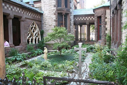Correct answer: Trinity Church courtyard in summer.
