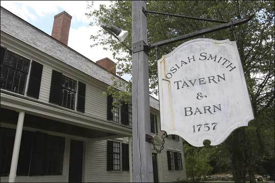 Built by Josiah Smith in 1757, the tavern was said to be one of the most noted between Boston and Worcester in its day. In time is has also housed a school and popular meeting area. Learn more of the tavern's history from its restoration website .
