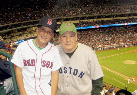 Matt, who is originally from Maine but now supports the Red Sox from the west coast, also posed for a photo with his son, Mike.