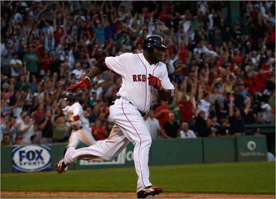 David Ortiz sprinted up the first base line as teammates scored the tying and winning runs on his double to left-center field in the bottom of the ninth.
