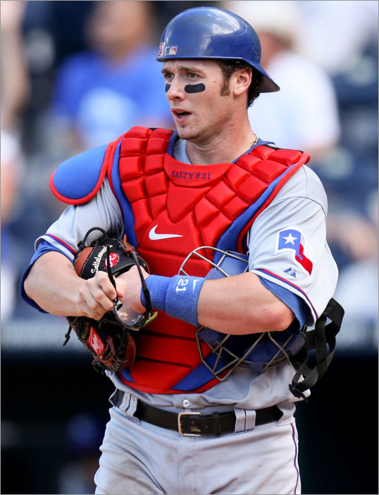 Jarrod Saltalamacchia acquired Three offseasons ago, the Rangers' asking price for Saltalamacchia centered around Clay Buchholz. But the catcher slumped badly, his stock fell rapidly, and the Red Sox picked up the 26-year-old catcher on July 31, 2010 for first baseman Chris McGuiness, righthander Roman Mendez, a player to be named, and cash. Saltalamacchia hardly shined in his debut in Boston, but he was named the starting catcher for 2011 when he struggled badly in September. In 2012, Salty has grown into a solid presence behind the plate as his power numbers continue to improve although his strikeout totals remain problematic.