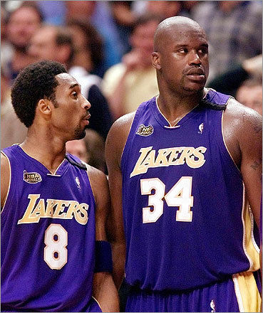 Shaq and Kobe Bryant won three straight titles together, but even a city as big as Los Angeles could not hold the two of them. After a feud went public, O'Neal was traded to the Miami Heat in 2004.
