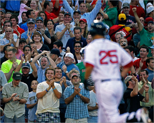 Back to Lowell. His was a moment of pure baseball joy. The fans at Fenway knew the score -- Lowell had only 80 at bats all season before Tuesday -- and they rewarded him with a touching ovation.