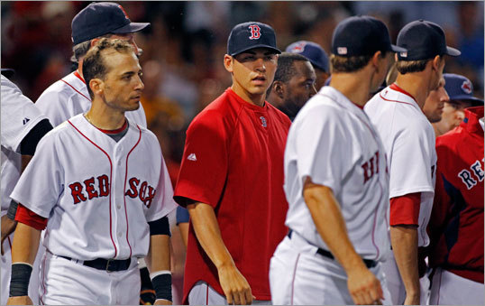 Injured Red Sox outfielder Jacoby Ellsbury joined his teammates on the field for the brawl.