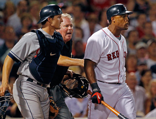 ... Beltre (right) was at the center of an eighth-inning scuffle that cleared the benches as the Sox faced the Indians Tuesday night. Beltre took exception to a tight pitch from Indians pitcher Jensen Lewis, barking at Lewis as Indians catcher Lou Marson tries to keep Beltre at home plate.