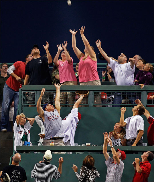 Fans in the Monster Seats competed for Bill Hall's solo home run in the fourth inning.