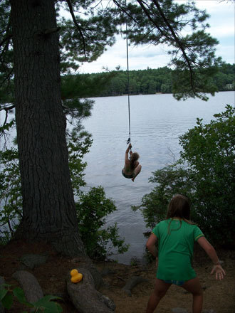 Lynn also took this photo of her daughter, Alex, swinging into Lake Todd in Bradford, New Hampshire.