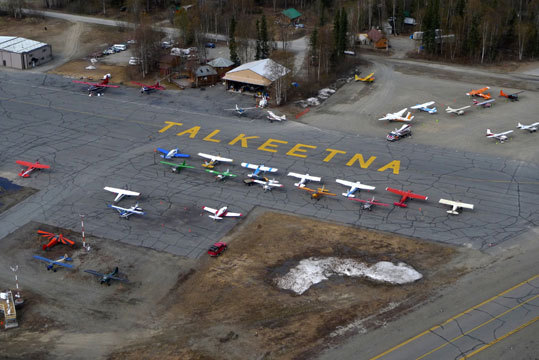 Talkeetna airstrip upon takeoff. Bush plane operators ferry mountaineers from here deep into the glaciated Alaska Range that skirts Mount McKinley.