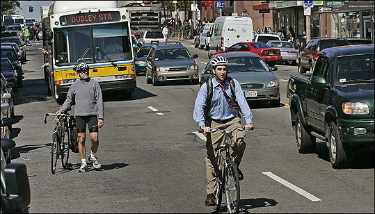 Massachusetts Avenue, a notoriously tough Boston roadway for bikers, on Sept. 18, 2007.