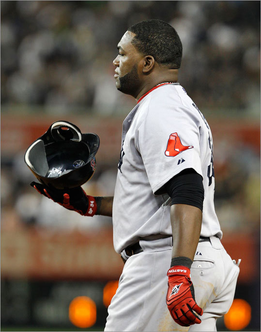Red Sox designated hitter David Ortiz grounded out with the bases loaded to end the top of the seventh inning.