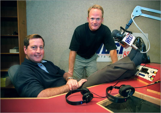'The Dennis and Callahan Show,' hosted by John Dennis (left) and former Herald columnist Gerry Callahan, began 2010 with a firm ratings lead among the coveted 25-54 group in the morning drive time over 'Toucher and Rich,' but The Sports Hub duo quickly overtook the WEEI veterans and have remained on top.