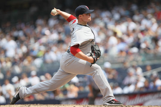 Jon Lester started the game for the Red Sox and held the Yankees scoreless through the first five innings.
